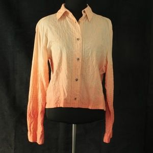 iOS Tops - Ombre Pleated Embroidery Shirt sz M [R1]